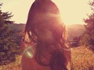 vrouw in zon